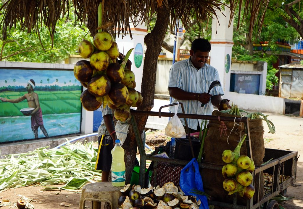 In Kovilpatti this man sells nungu in a cart accompanied with a big smile.