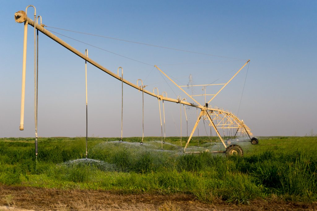 And this is the giant sprinkler / irrigation system helping the farm flourish