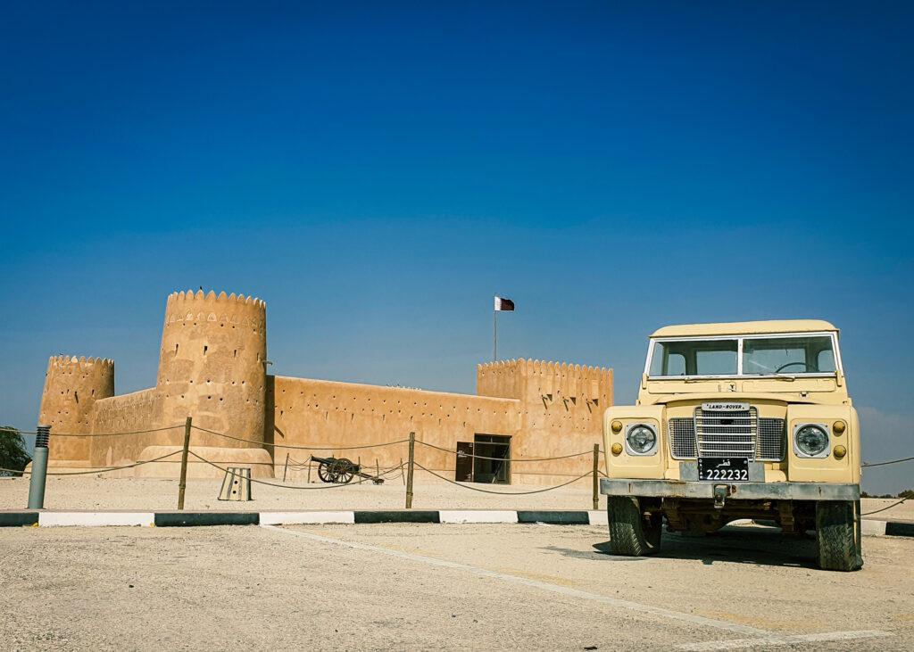 zubara fort with an antique car
